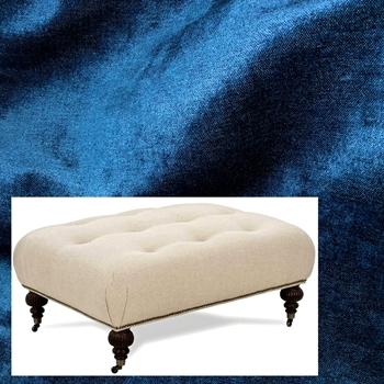 Ottoman Bette Lapis Velvet 41W/31D/18H Antique Black Leg, Pewter Castors & Nails
