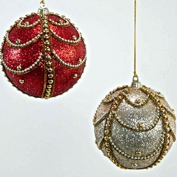 X - Globe Tapestry Deco Scallop 4in Ruby or Champagne