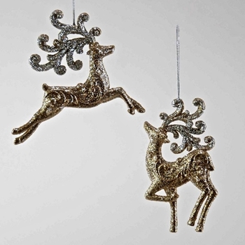 Rain Deer Ornament Glitter 5in