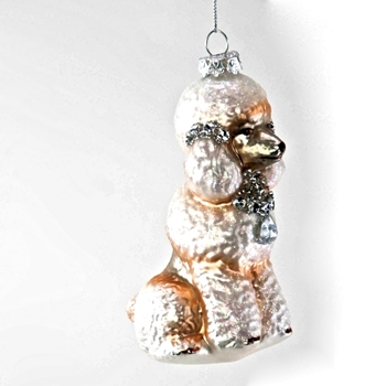 X - Poodle Ornament Glass Blush/Silver 5in
