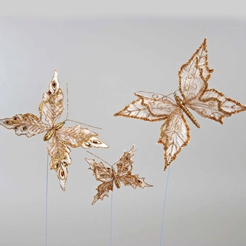 Butterfly Clip Gilded Lace LG 9in