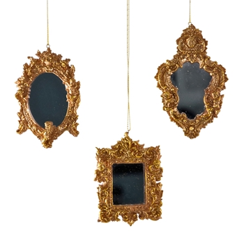 X - Mirror Ornament Gilded Baroque 4.5in