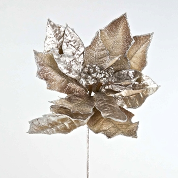 X - Poinsettia Pewter Crystal 21in