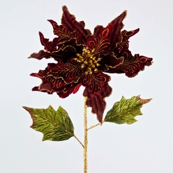 Poinsettia Stem Velvet Gilded Bordeaux 28in