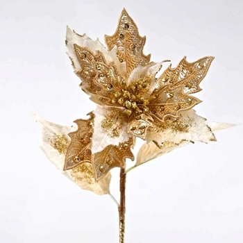 Poinsettia Stem Gilded Embroidered 25in