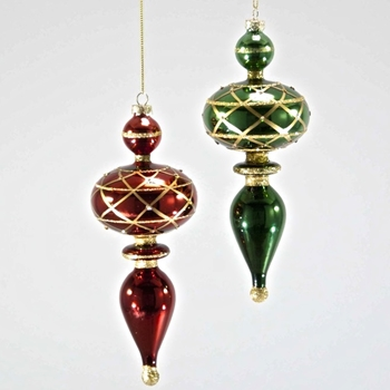 Finial Ornament Christmas Red or Green 8in