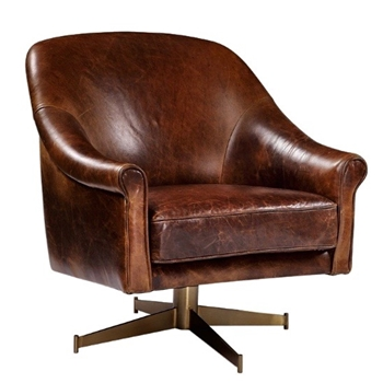 Armchair Ellington Swivel Tobacco Leather 29W/32D/34H