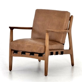 Armchair Silas Tan Leather 28W/33D/33H