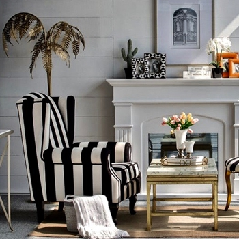 Armchair Wing - Elton Black & White 32W/35D/43H