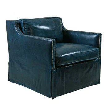 Delano Skirted Turquoise Leather Arm Chair