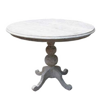 Vigo Whitewash Solid Mahogany Pedestal Table