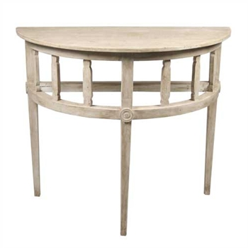 Demilune White Wash Side Table