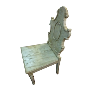 Carved White Washed Chair