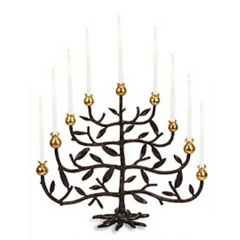 Pomegranate Patina Menorah Candle Holder