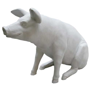 Life Size White Resin Pig