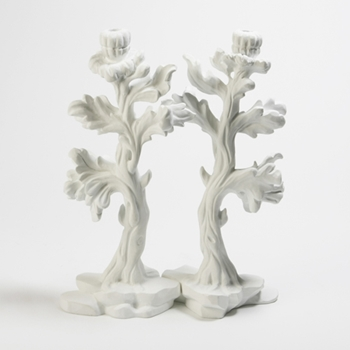 Bloom White Candleholders (Pair)