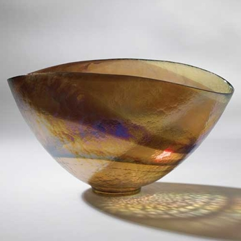 Oval Amber Art Glass Bowl