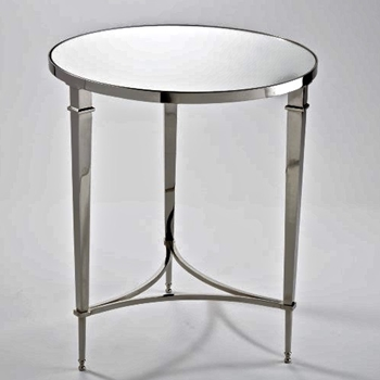 French Round Nickel Side Table
