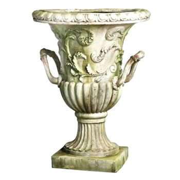 Handle Urn 22W/30H White Moss