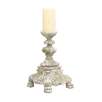 Candle Holder Baroque 8W/13H White Moss