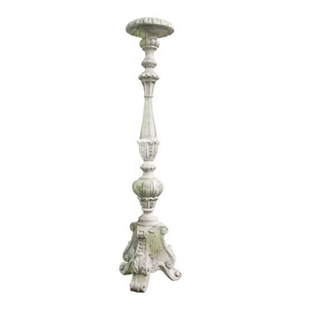 Candle Holder Kimple 8W/38H White Moss