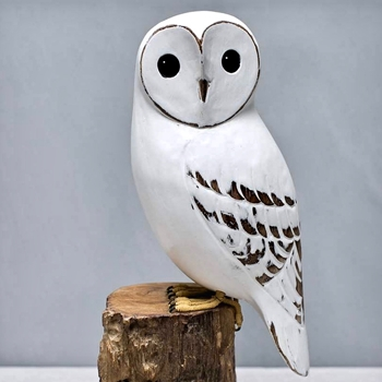 Owl White Barn 13in