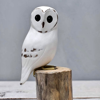 Owl White Barn 8in