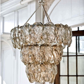Glass Leaves Chandelier 25W/32H