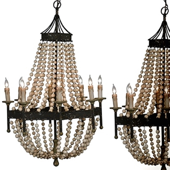 Rennes Chandelier Wood Bead 28W/45H