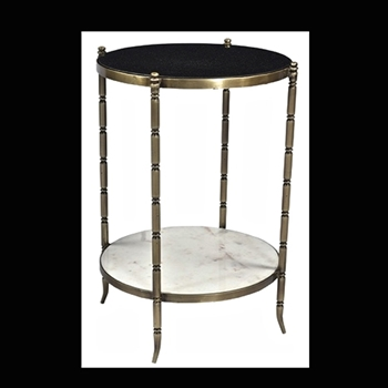 Marble Side Table BLK/WHT  15W/26H