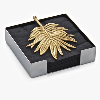 Aram Palm Gold Beverage Napkin Holder