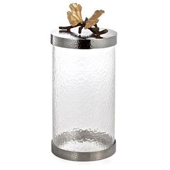 Aram Butterfly Gingko Canister LG 12IN