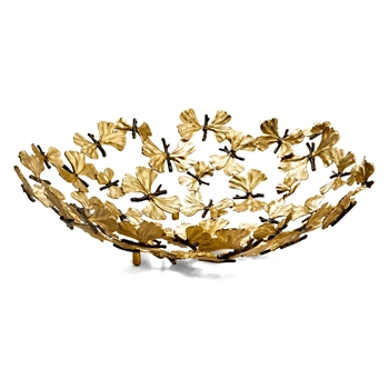 Aram Butterfly Gingko Centrepiece Bowl 19W/4.5H
