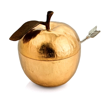 Aram Apple Gold Honey Pot 3IN W/Spoon