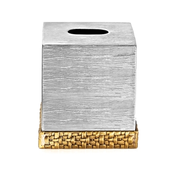Aram Palm Gold Tissue Box 6in SQ