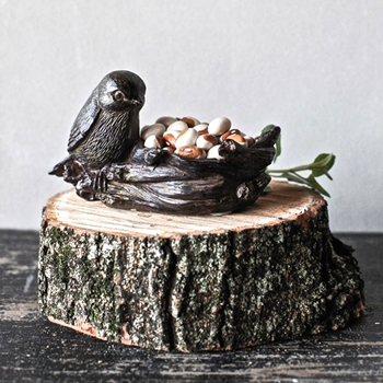Tealight Bowl Bird Nest 4In