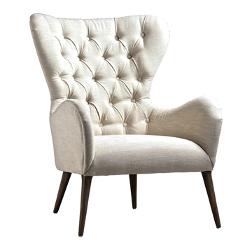 Armchair Wingback Mathias 31W/34D/40H White Tweed