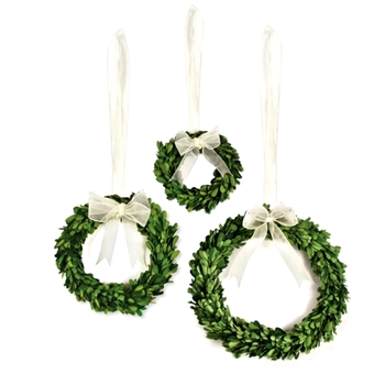 Boxwood Preserved Wreath Round 6/8/10IN Set3