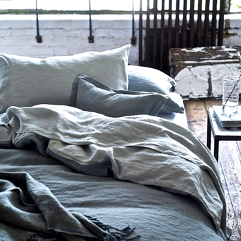 Designers Guild Biella Grey & Dove Linen Bedding