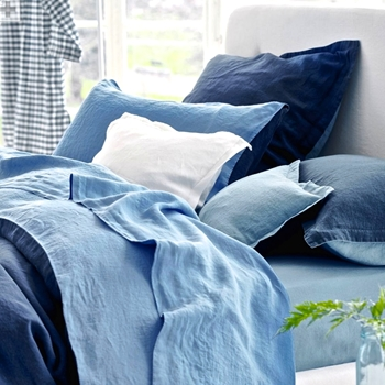 Designers Guild Biella Midnight & Wedgwood Linen Bedding