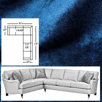Sectional Julia Lapis Blue Velvet 115W/91L/37D/35H