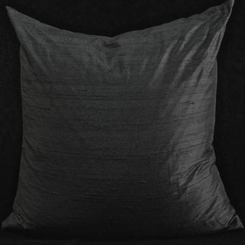 18. Dupioni Cushion Black Euro 26SQ