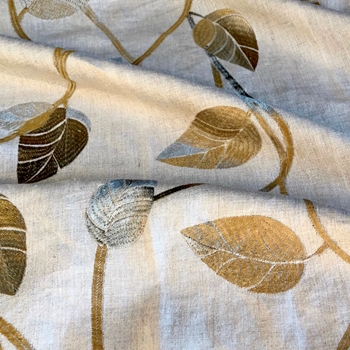 06. Flax Jasmine Embroidered Linen Bronze