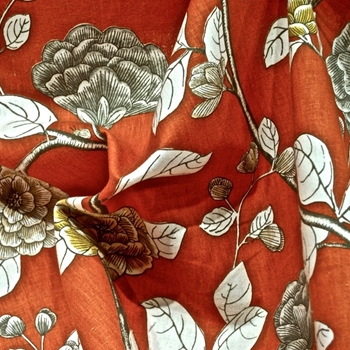 Print - Leda Persimmon,  55in, 55% Cotton, 45% Linen, 27x 27in Repeat, Dwell Studio.