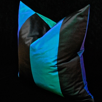42. Silk Taffeta Stripe Lapis Cushion 18SQ
