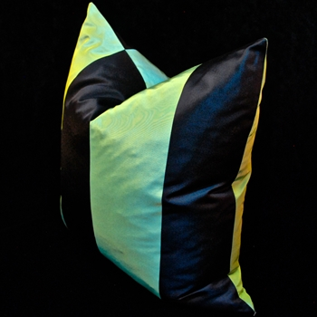 47. Silk Taffeta Stripe Jade Cushion 18SQ