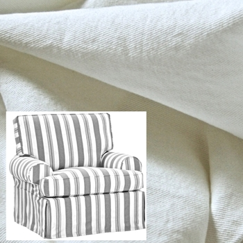 Armchair Swivel Kate White Denim Slipcover 41W/39D/40H