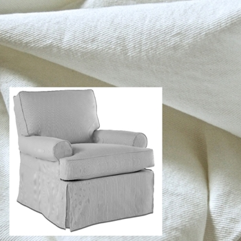 Armchair Swivel Glider Gina XL White Denim Slipcover 36W/38D/38H