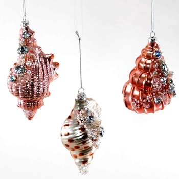 77. Ornament - Shell Conch Gemstone Pinks 5in
