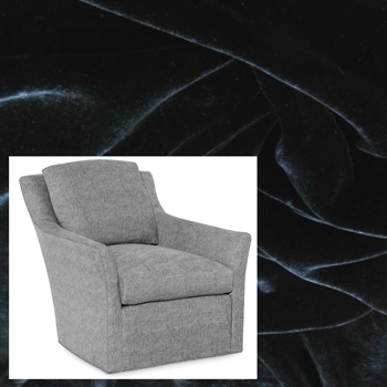 Armchair Swivel Studio Black Velvet 30W/40D/34H
